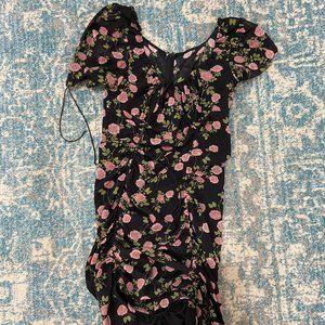Black biscotti floral mini dress